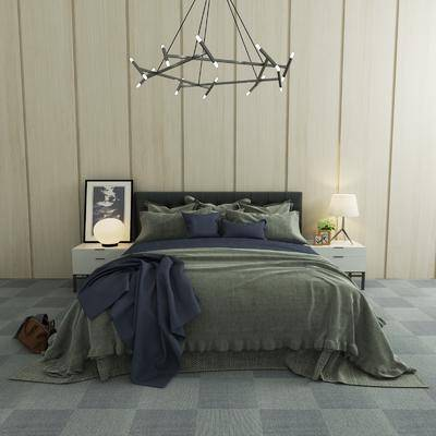 床具组合, 现代双人床, 吊灯, 床头柜, 台灯, 装饰画, 现代