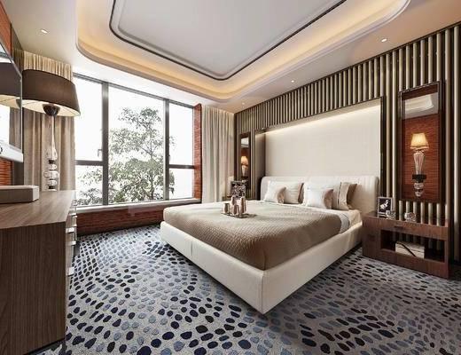 新中式, 卧室, 床, 地毯, 轻奢