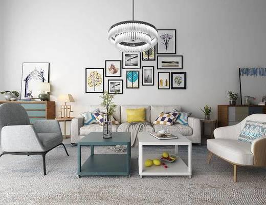 北欧, 沙发组合, 茶几, 装饰画, 灯具, 摆件