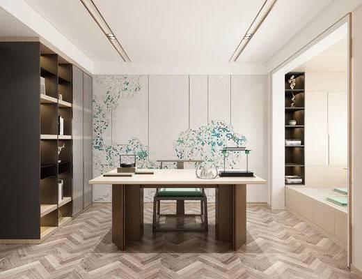 书房, 背景墙, 书桌, 摆件组合, 书柜