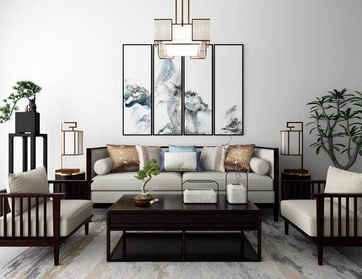 新中式, 沙发, 茶几, 盆栽, 台灯, 吊灯, 挂画
