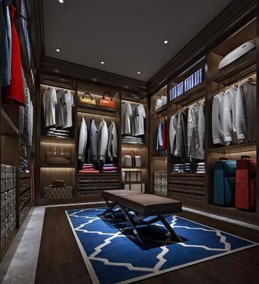 衣帽间, 衣柜, 衣服, 衣架, 鞋子, 置物柜, 摆件, 沙发凳, 现代, 地毯
