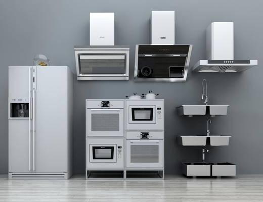 现代抽油烟机, 现代, 抽油烟机, 消毒柜, 洗手盆