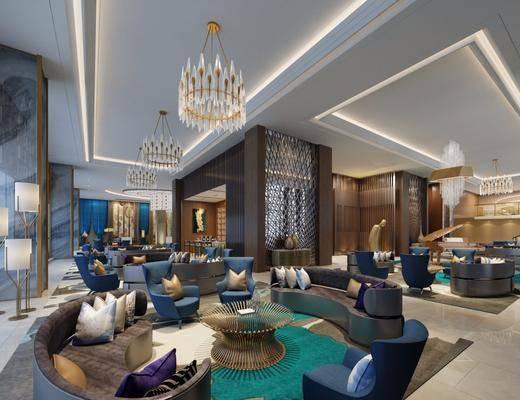 酒店休闲区, 吊灯, 大堂大厅, 单人椅, 单人沙发, 桌子, 多人沙发, 异形沙发, 现代