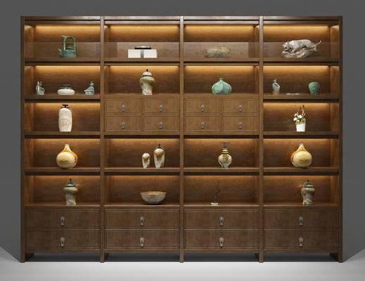 中式置物柜, 置物柜, 装饰柜架