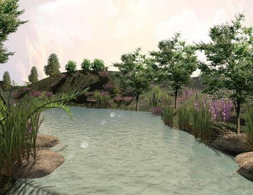水边, 湖, 风景, 树木, 现代