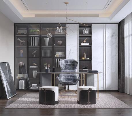 中式书房, 书桌, 置物柜, 装饰画
