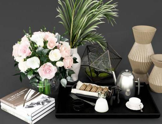 摆件组合, 饰品摆件, 花瓶花卉, 绿植植物, 现代