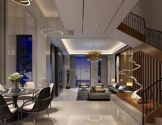 现代客厅餐厅楼梯, 现代, 餐厅, 楼梯, 客厅, 餐桌椅, 沙发
