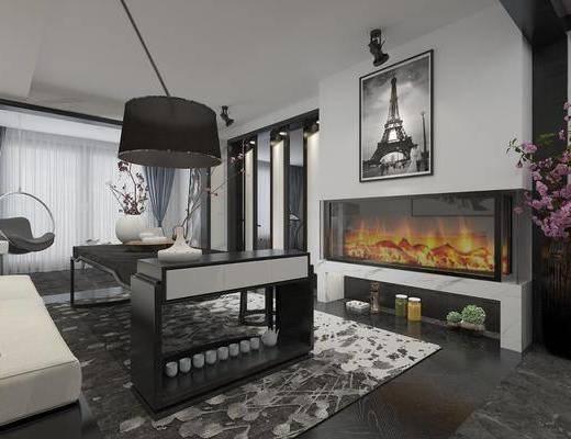 客厅, 现代客厅, 现代, 沙发, 茶几, 边几, 沙发组合, 落地灯, 壁炉, 挂画, 装饰画, 花瓶, 花卉, 单椅, 摆件, 装饰品, 楼梯
