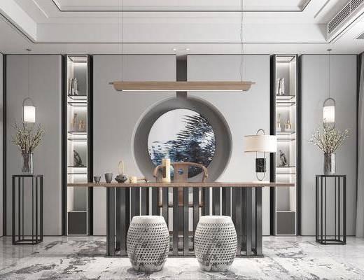 书房茶室, 桌椅组合, 台灯组合, 凳子组合, 摆件组合, 新中式