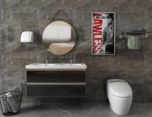 洗手台组合, 镜子马桶, 挂画, 装饰镜, 现代