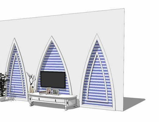 电视柜, 柜架组合, 背景墙