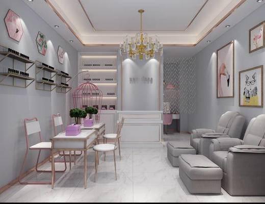 北欧, 美甲店, 工装全景, 粉色, 少女, 桌椅组合, 沙发, 前台