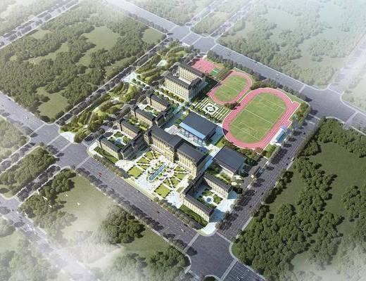 学校, 教学楼, 建筑, 操场