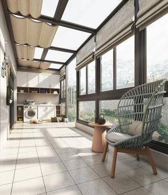 阳台, 休闲沙发, 洗衣机, 柜子