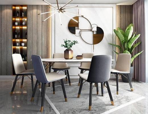 餐桌, 擺件組合, 墻飾, 吊燈, 盆栽綠植