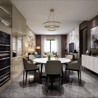 现代餐厅, 现代, 餐厅, 餐桌椅, 边柜, 沙发, 客厅, 现代吊灯