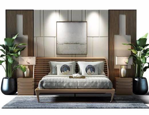 中式风格双人床, 中式, 床, 床头柜, 装饰画, 植物, 台灯, 盆栽