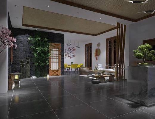 酒店大堂, 大堂大厅, 竹子组合, 沙发组合, 茶几组合, 餐桌椅组合, 中式