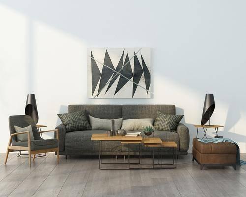 多人沙发, 茶几, 单人沙发, 躺椅, 边几, 台灯, 装饰画, 挂画, 装饰品, 布艺沙发, 北欧