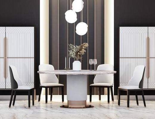 餐桌, 桌椅组合, 吊灯, 摆件组合