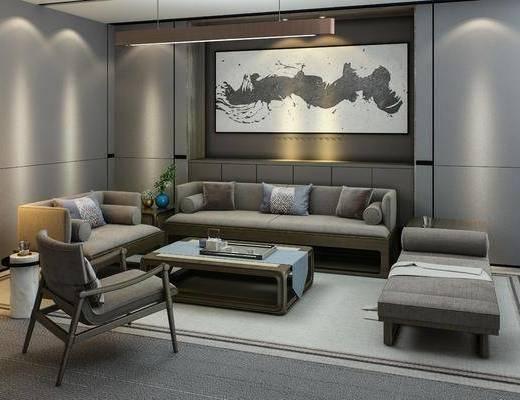 沙发组合, 多人沙发, 茶几, 躺椅, 单人沙发, 装饰画, 挂画, 吊灯, 边几, 摆件, 装饰品, 陈设品, 新中式