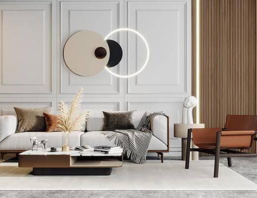 现代轻奢, 多人沙发, 边几, 墙饰, 单椅