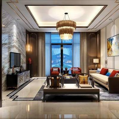新中式客厅, 新中式, 客厅, 新中式沙发组合, 装饰画, 台灯, 中式吊灯, 壁灯, 电视柜, 屏风