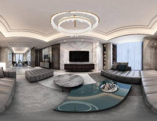 电视背景墙, 沙发组合, 茶几, 电视柜, 吊灯