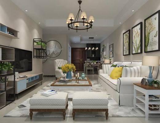 客厅, 美式客厅, 现代客厅, 电视柜, 吊灯, 装饰画