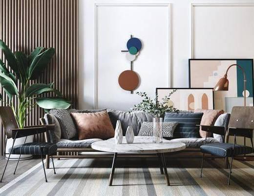 沙发组合, 墙饰, 单椅, 茶几, 装饰画