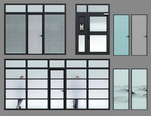 铝合金, 玻璃, 办公隔断门, 现代