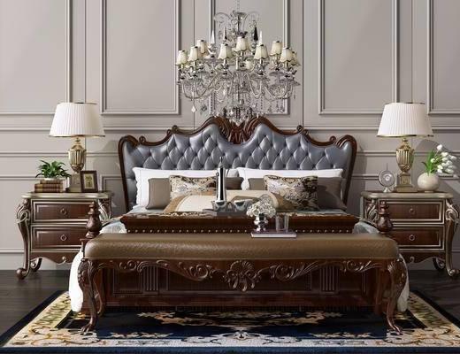 吊灯, 吊灯组合, 双人床, 床头柜, 床具组合