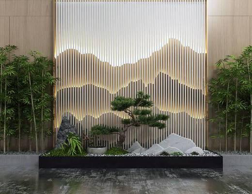 景观小品, 植物, 盆景, 假山, 背景墙