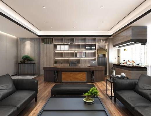 办公室, 经理室, 沙发组合, 沙发茶几组合, 书柜, 办公桌