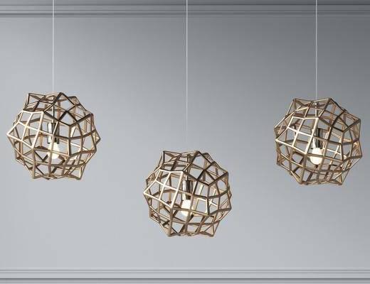 现代金属网格球小吊灯组合
