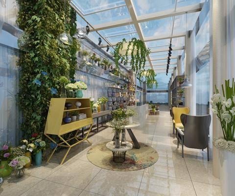 花店, 装饰架, 盆栽, 绿植植物, 花瓶花卉, 单人沙发, 茶几, 现代