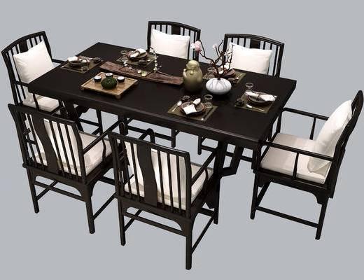 新中式, 餐桌椅, 餐桌, 中式, 椅子, 茶具, 花瓶, 实木, 桌子