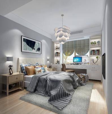 北欧卧室, 双人床, 床头柜, 吊灯, 办工桌, 北欧