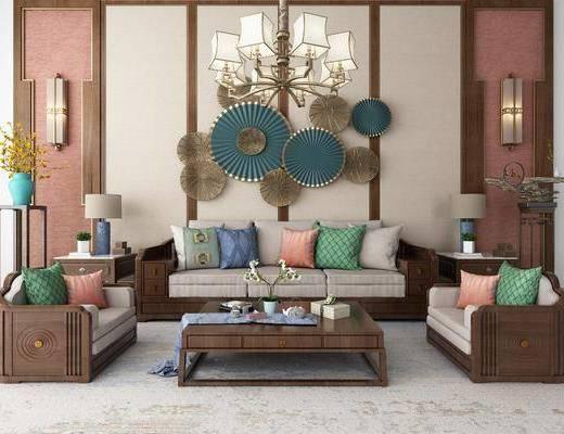 沙发组合, 多人沙发, 边几, 台灯, 壁灯, 吊灯, 单人沙发, 茶几, 装饰架, 墙饰, 摆件, 装饰品, 陈设品, 花瓶花卉, 新中式