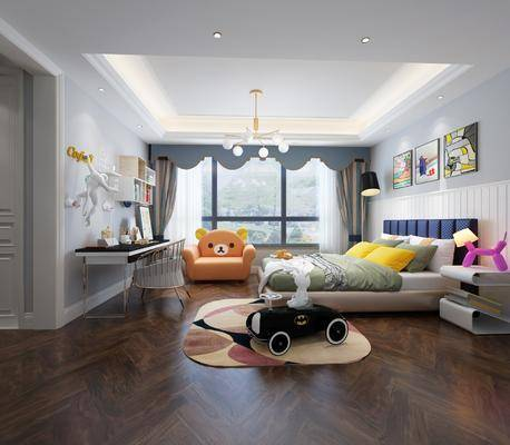 儿童房, 卧室, 现代儿童房, 床具组合, 玩具, 摆件, 书桌, 单椅, 现代