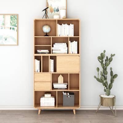 实木书柜, 书籍, 盆栽, 绿植植物, 摆件组合, 装饰品, 北欧