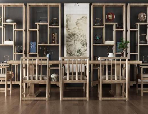 新中式, 餐桌, 椅子, 桌子, 柜架, 置物架, 摆件, 茶具, 陈设品, 瓷器, 盆栽
