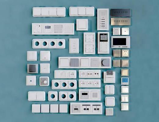 开关插座, 面板, 电话门禁, 网络插口, 现代