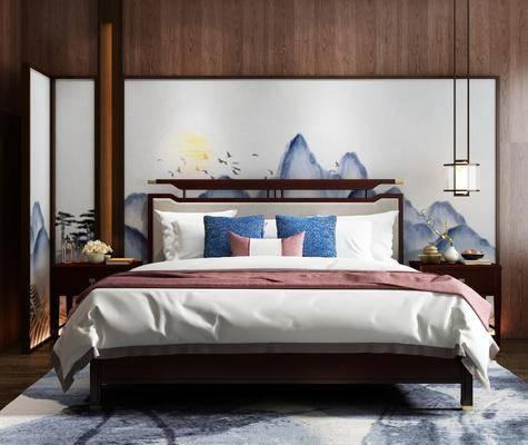 双人床, 吊灯, 床头柜, 屏风, 摆件, 装饰品, 陈设品, 花瓶, 花卉, 隔断屏风, 新中式