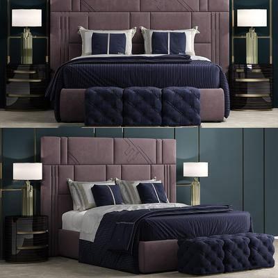 床头柜, 灯具, 摆件组合