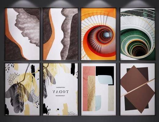 装饰挂画, 山水画, 艺术画, 抽象画, 二联画, 端景画, 挂画组合, 现代
