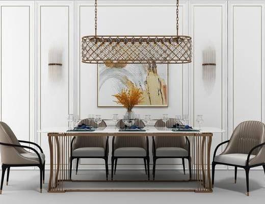 餐桌椅组合, 餐桌, 餐椅, 单人椅, 装饰画, 挂画, 壁灯, 吊灯, 装饰品, 陈设品, 欧式