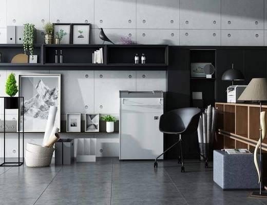 书柜, 置物柜, 装饰柜, 摆件, 植物, 案几, 相架, 单椅, 装饰品, 落地灯, 现代